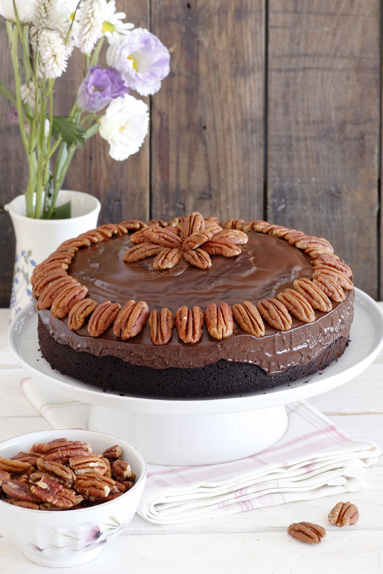 Chocolate Date Cake with Chocolate Frosting and Pecans