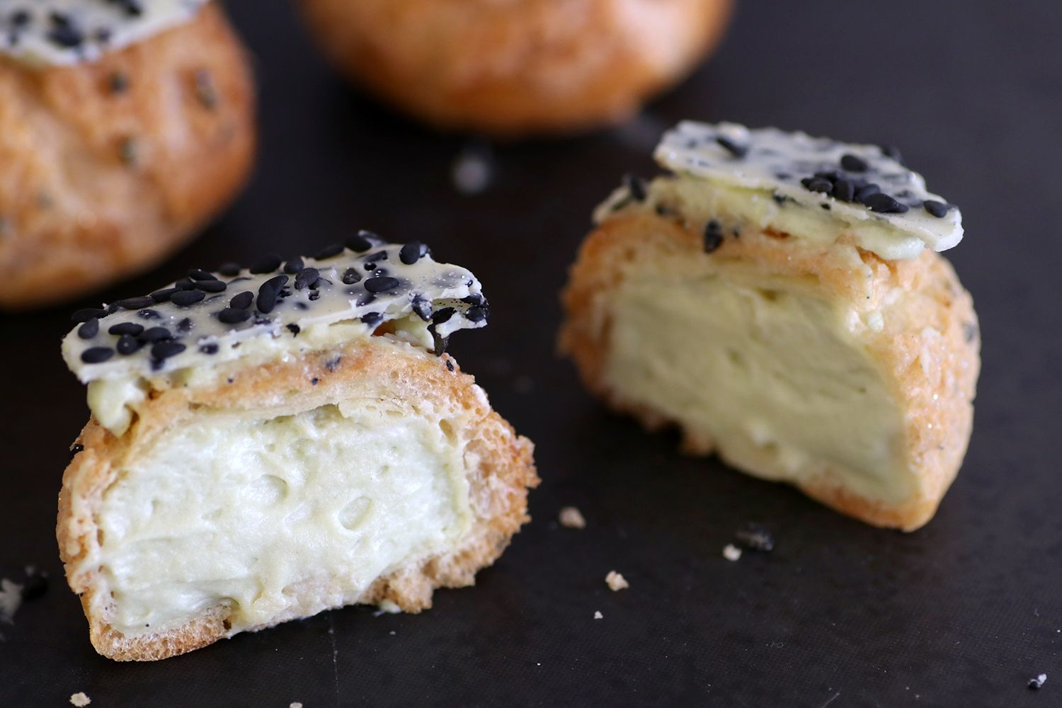 Matcha Cream Puffs with Black Sesame Crumble