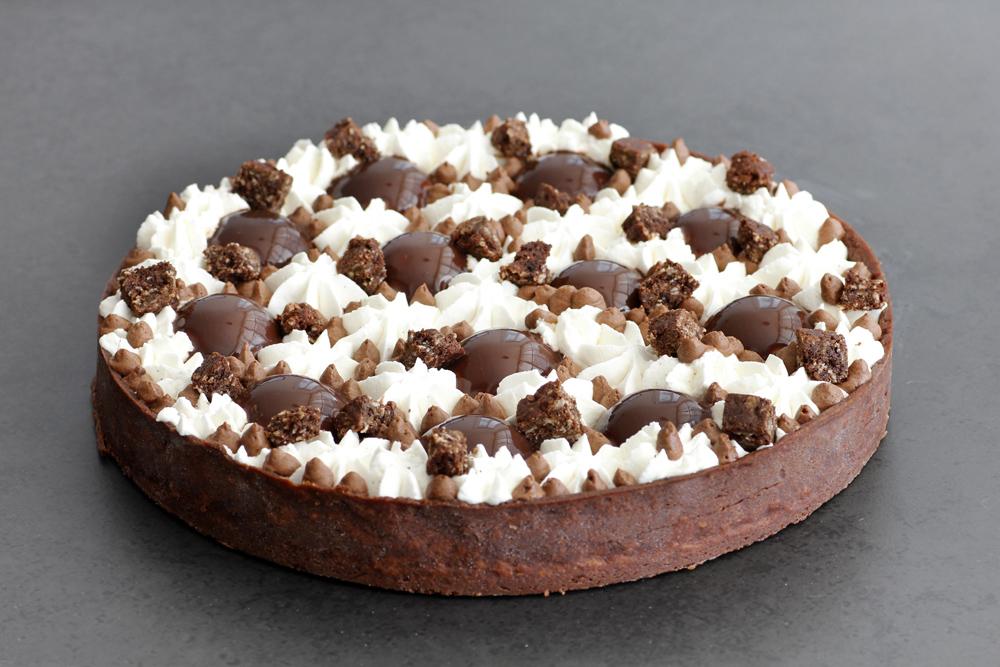 טארט שוקולד וקפה עם קרם וניל