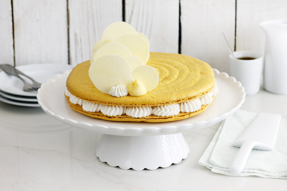 Lemon Macaron Cake with Coconut and Vanilla