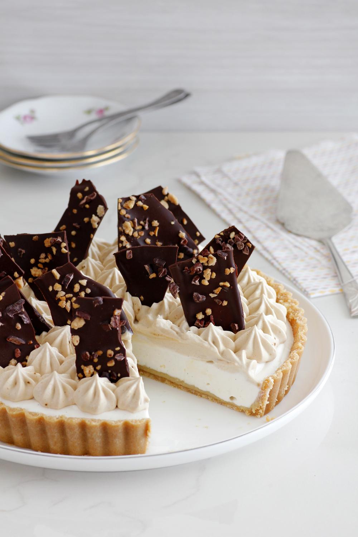 No-bake Tahini and Coffee Cream Cheese Pie