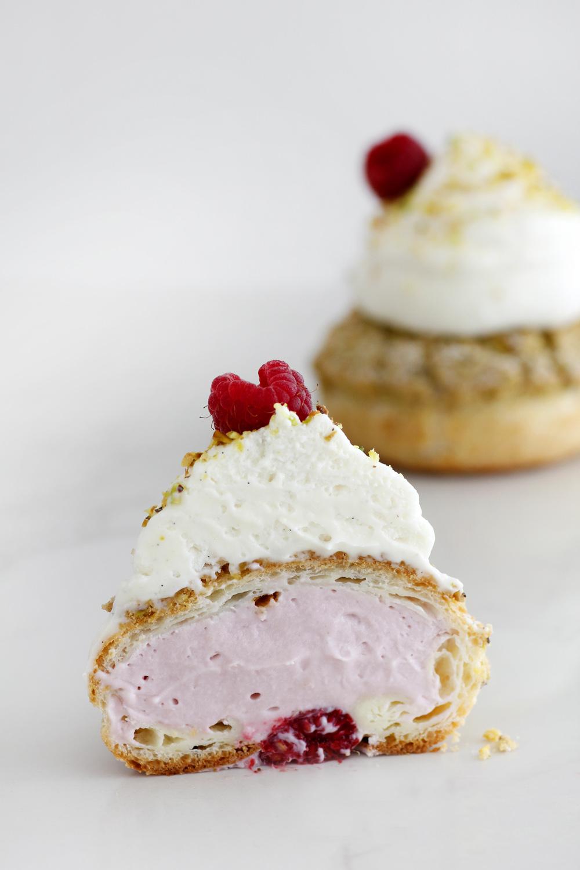 Pistachio and Raspberry Cream Puffs