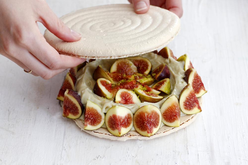 Fig, Pistachio and Mascarpone Macaron Cake