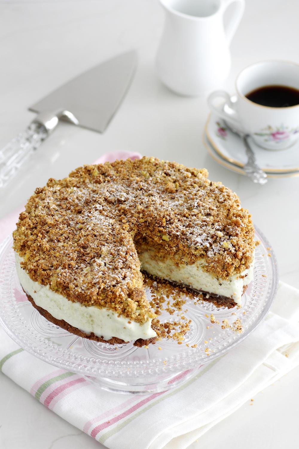 עוגת גלידה פיסטוק ושוקולד