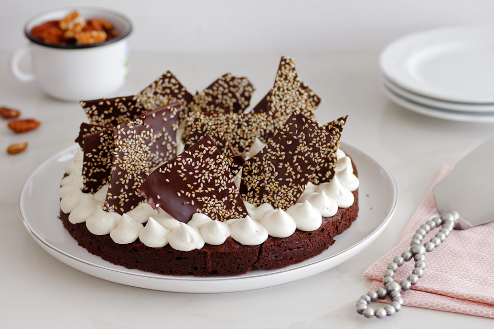 Pecan, Coffee and Halva Brownie Cake