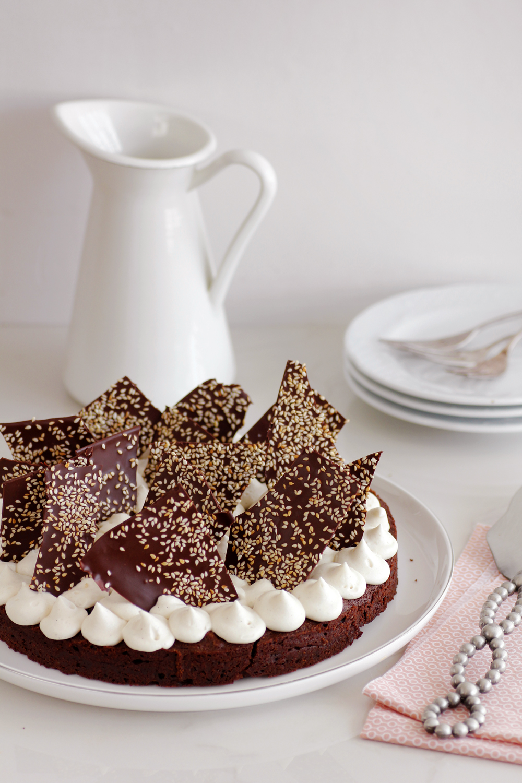 Pecan, Coffee and Halva Brownie Cake