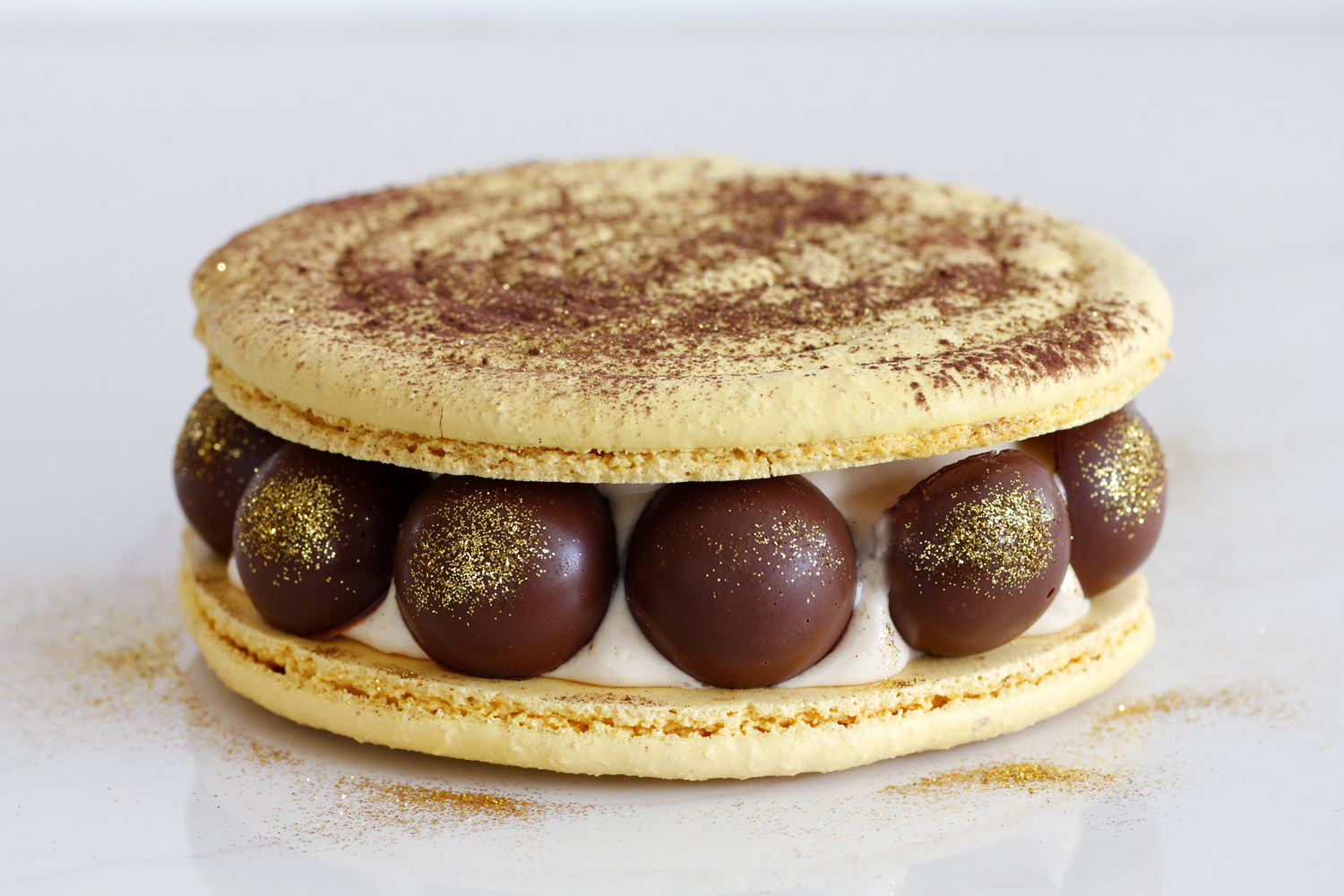 Peanut Butter Macaron Cake with Banana and Chocolate
