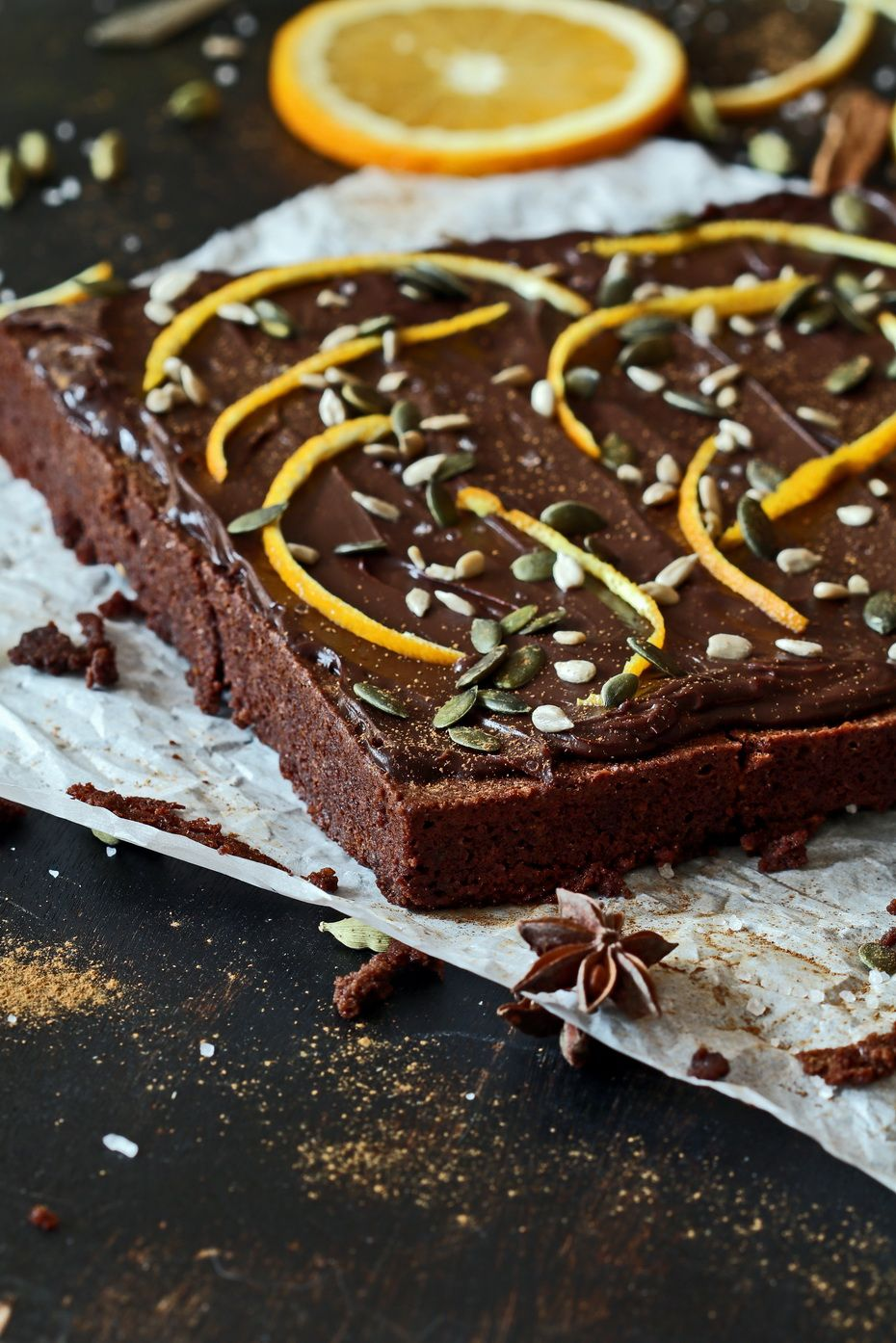 Sea Salt Gingerbread Brownies with Seeds