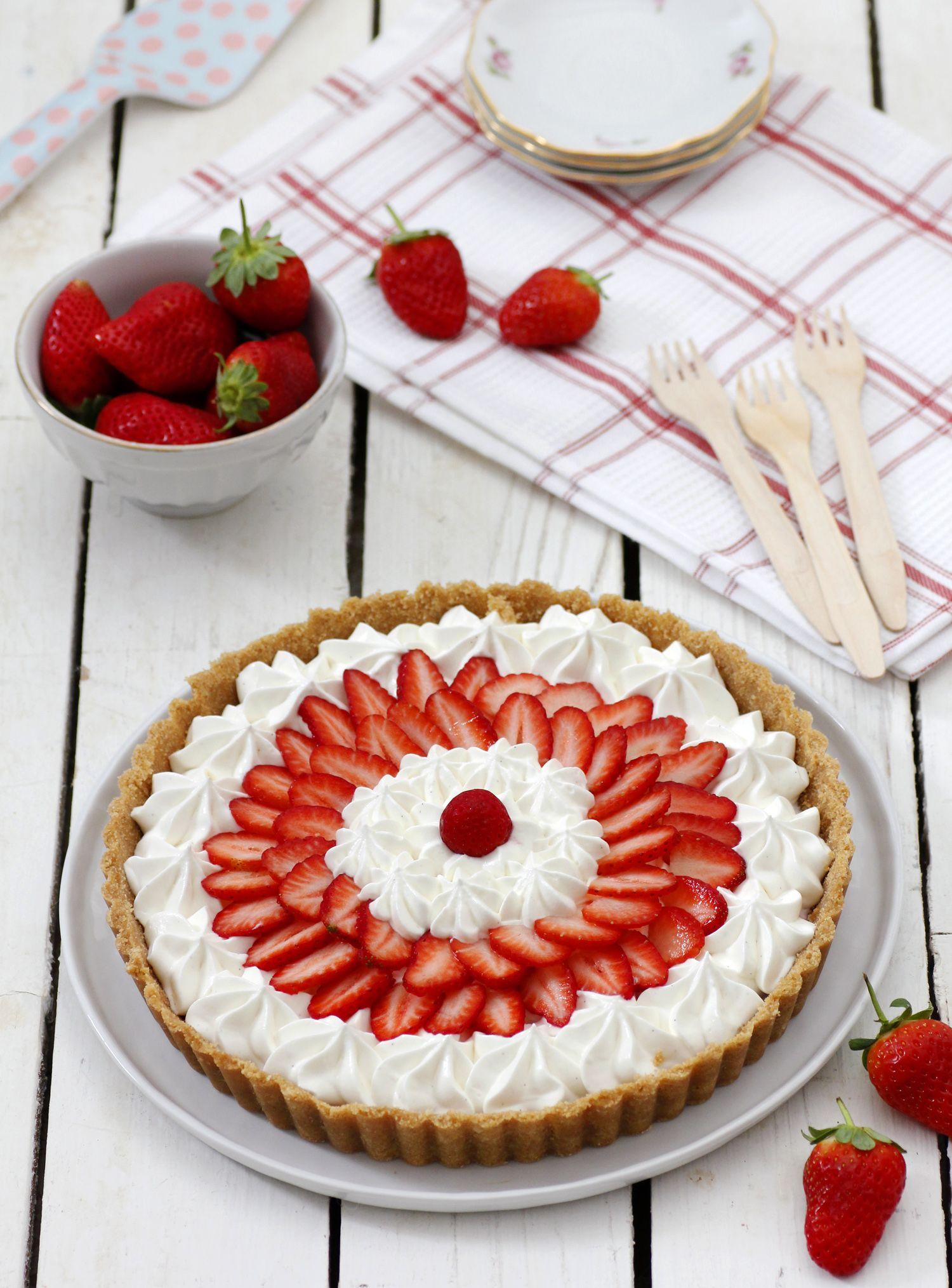 פאי תותים ויוגורט ללא אפייה