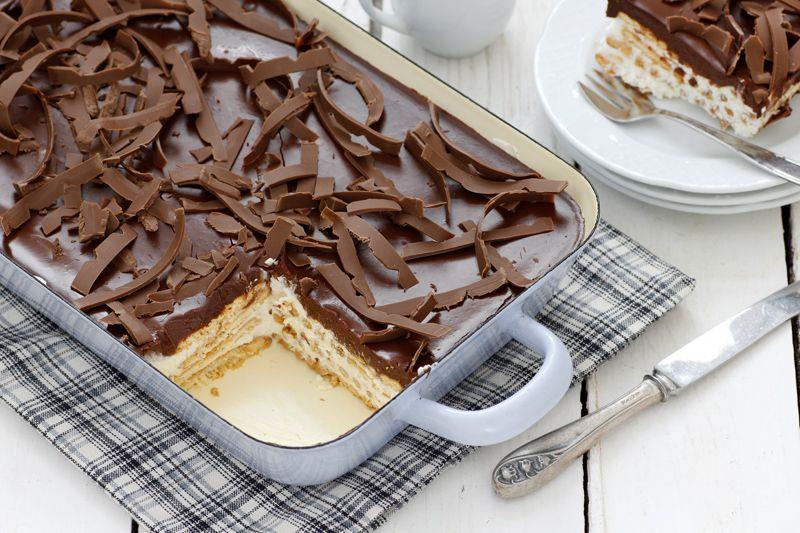 עוגת ביסקוויטים גבינה ושוקולד