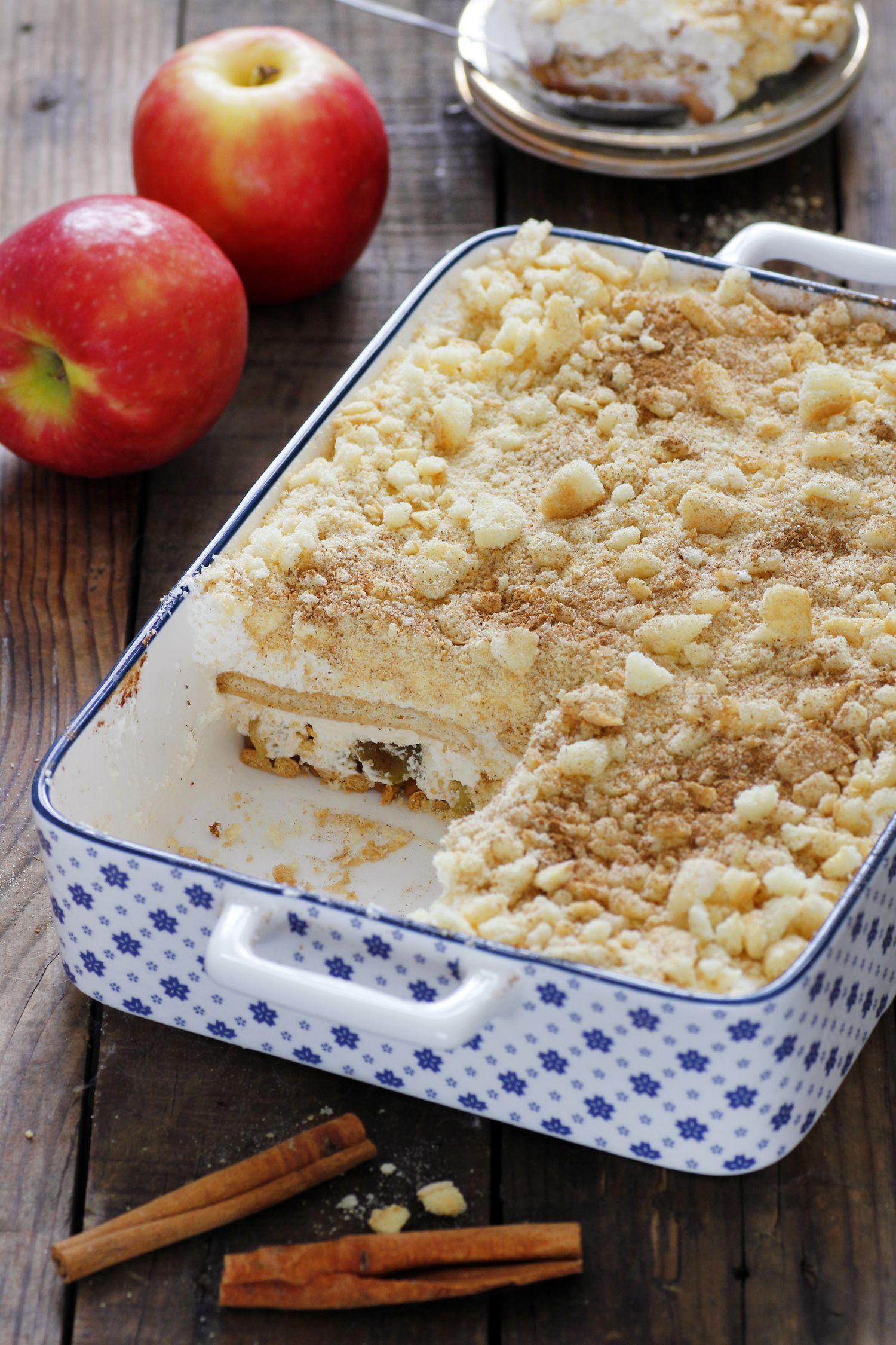 עוגת ביסקוויטים תפוחים בקרמל