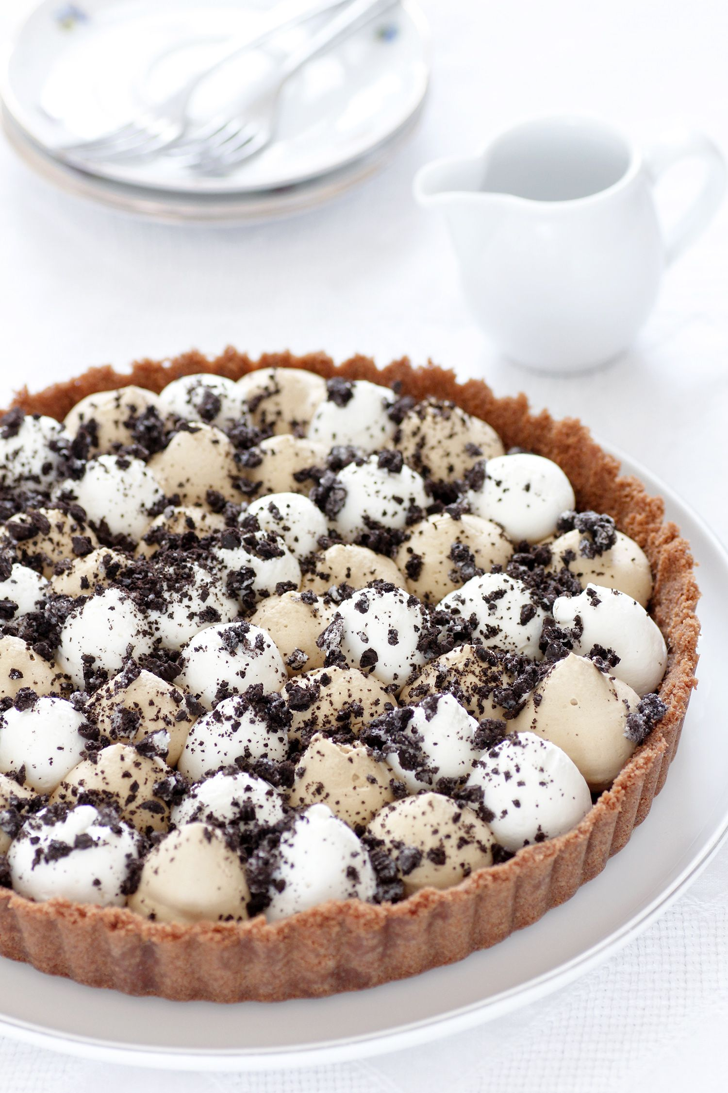 No Bake Coffee Mascarpone Tart with Chocolate Ganache