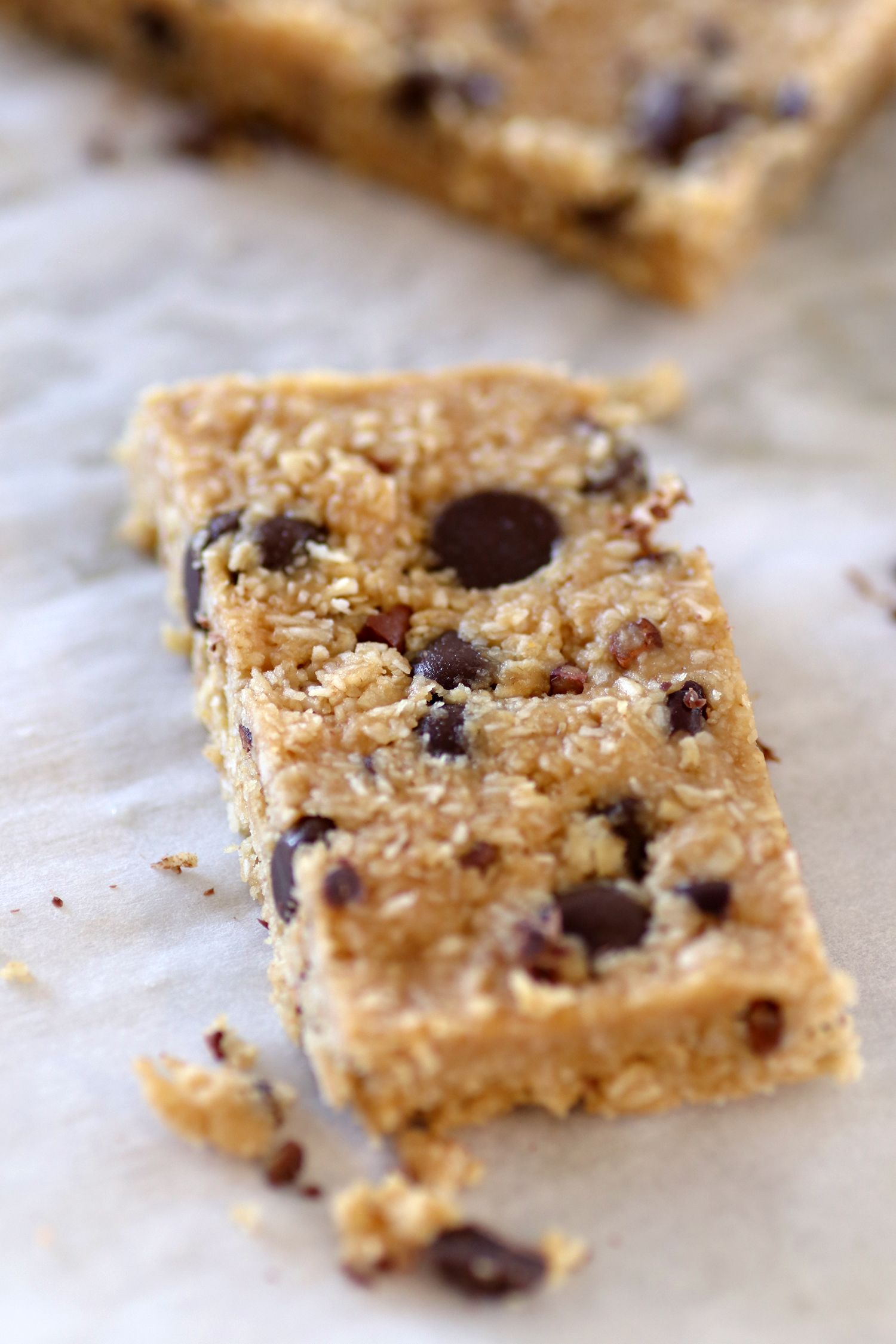 Peanut Butter Energy Bars with Coconut and Chocolate
